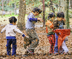 children-playing-leaves